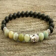 Buddha head bracelet 7.5 inches Bead 8mm volcanic stone Amazon stone silver