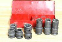 "1"" Drive Sunex Impact Socket 6-pt  Standard 1 1/4 1/8 1/16 w/ Case"
