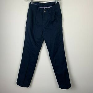 Chaps Boys School Approved Performance Navy Pants Size 12 Reg Pleated Adjustable