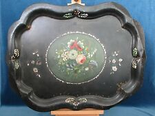 Victorian Japanned Metal Toleware Tray Painted Floral Mother of Pearl Inlay