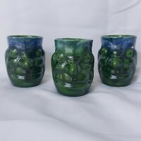 Royal Haeger Aztec Face Mugs 1949 Blue Green Glaze Set Of 3 AS IS