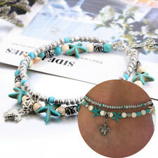 1pc Boho Starfish Turquoise Beads Sea Turtle Anklet Beach Sandal Ankle Bracelet