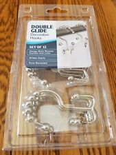 Metal Shower Curtain Hooks Rings 12 Count Double Glide