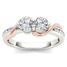 10K Pink Two Tone White Gold 0.75Ct Round Cut Diamond Two Stone Engagement Ring