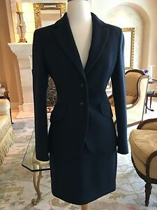 Moschino Couture Classic Navy Blue Wool Suit Size 6 USA