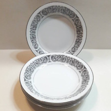 Vintage Celebrity Fine China Matador 6070 Black Scrolls Platinum Soup Bowls