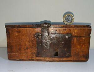 Rare Tiny 17th Century Oak Casket Box With Original Ironwork