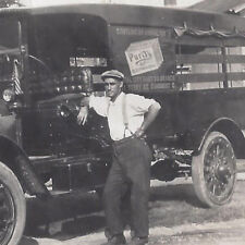 1910s SNAPSHOT PHOTO SANDUSKY OH CAPITAL CITY DAIRY DELIVERY TRUCK & PURITY AD