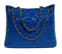 CHANEL Electric Blue Cobalt Patent Leather Gold Chain Limited Puzzle Tote Bag GC