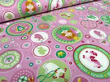 ☻ Stoff Tante Ema BW Jersey Prinzessin Alina rosa grün pink weiß gelb braun ☻