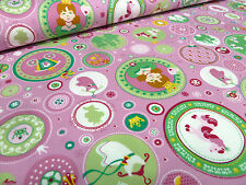 Stoffrest 49x150cm Tante Ema BW Jersey Prinzessin Alina rosa grün pink weiß