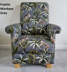 Fryetts Monkeys Fabric Childs Chair Children's Armchair Grey Animals Safari Kids