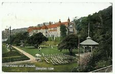 The Palace & Grounds. Douglas, Isle of Man. Postmark 1910,  with bandstand.