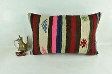 Kilim Pillow Cover 16x24 Traditional Oushak Rug Handmade Lumbar Cushion 3110