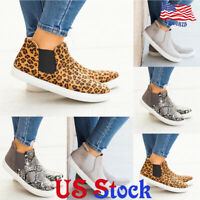 Women's Casual Shoes High-top Flat Elastic Slip On Sneakers Round Toe Loafers