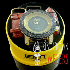 Yellow Gold Finish Golden & Black Mens Classy Bling Master Leather Band Watch
