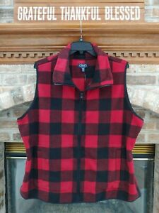Chaps by Ralph Lauren Women's Sz. 2X Black/Red Flannel Vest NWT