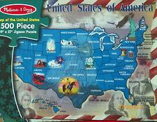 PUZZLE.JIGSAW......Melissa&Doug .....Map Of The United States....500 Pc...Sealed