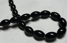 8x12mm Black Agate Onyx Gemstone Rice Loose Bead 15''AAA