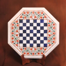 2' White Marble chess Table Top Handmade Pietra Dura inlay malachite Play Home