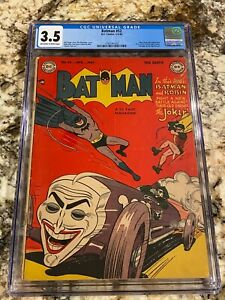 BATMAN #52 CGC 3.5 OW- WH PAGES ICONIC JOKER IN THE JOKER-MOBILE CLASSIC COVER