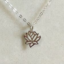 """Tiny Lotus Flower Charm Pendant Necklace 925 Sterling Silver 18"""" Chain -Gift Box"""