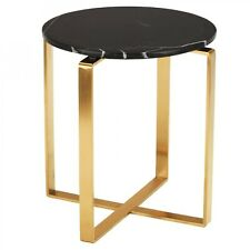 """21.5"""" T Set of 2 Side Table Black Solid Marble Top Gold Stainless Steel Modern"""