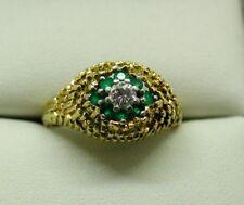 Unusual Vintage Heavy 18 Carat Gold & Platinum Emerald And Diamond Dress Ring