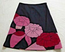 ODIE & AMANDA Black Floral Applique Thick Wool/Blend Skirt - UK 12 (32''W)