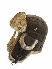 FUR WINTER Wool Blend Tweed Rabbit Fur Aviator Bomber Trapper Hat BRN L/XL