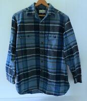 L.L. BEAN Mens Flannel Plaid Shirt Size Medium Blue Gray Thick Warm