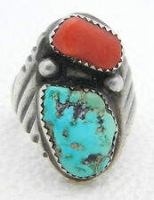Navajo R Signed Designer Sterling Silver Heavy Coral Turquoise Ring 15g Size 9.5