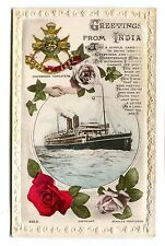 Vintage Postcard GREETINGS FROM INDIA Notts & Derby Sherwood Foresters Beagles