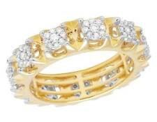 14K Yellow Gold Genuine Diamond Cluster Eternity Wedding Band Ring 1 2/5 CT 7MM