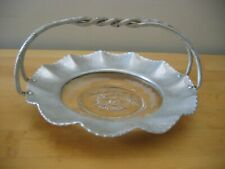 Vintage HAMMERED ALUMINUM Scalloped TRAY Twisted Handle w/ Etched Glass Insert