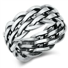 Large 925 Sterling Silver Unisex Celtic Weave Ring Band Size 5-12