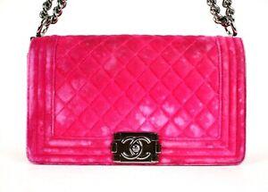 CHANEL Hot Pink Quilted Velvet Medium LE BOY Flap Shoulder Bag
