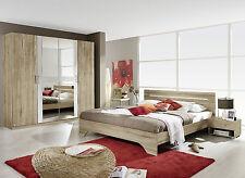 Schlafzimmer Rubi Kleiderschrank + Bett+ Nachttische, Eiche Sanremo hell Weiß