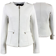 New Womens Faux Leather Quilted Biker Style Look Short Jacket Blazer