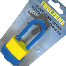 Water resistant Padlock Pad Bolt Lock Shed Gate Garage Latch. 3 Keys. Long Shank