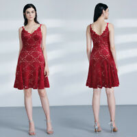 Ever-Pretty Womans A-Line Lace Cocktail Dress Knee Length V-Neck Porm Dresses