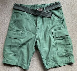 Levis Green Mens Cotton Cargo Military Shorts 32 Inch Waist