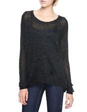 New Womens Mohair True Religion Jeans Sweater Top NWT M Raglan Hi Low Gray Dark