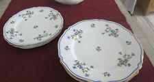 More details for limoges f quinque blue floral set of 4 plates 9.5