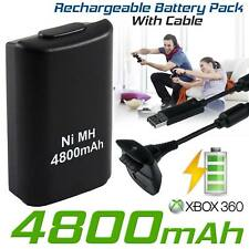 NEW BLACK XBOX 360 PLAY AND CHARGE KIT 4800mAH RECHARGEABLE BATTERY PACK & CABLE
