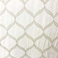 Cornell Dove Ivory Cream Embroidered Ogee Trellis Tissus Fabric