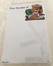 VTG SUZY'S ZOO Stationery Letter/Note Pad, Bear At Desk, #222, 1996, NIP!