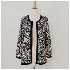 Womens Peck & Peck Black White Floral Zipper Sweater Size Large NWT $98 Rtl