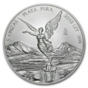5 Oz Mexico Libertad 2018 Fine Silver 999 - 5 Once Argento Messico FDC