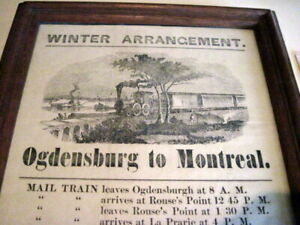 CHAMPLAIN & St LAWRENCE RAILWAY  1851  BROADSIDE TIMETABLE  CANADA